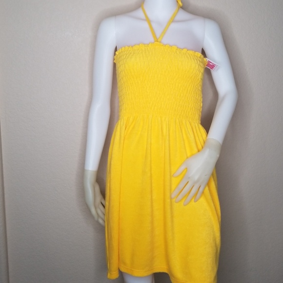 e780dec012e NWT JUICY COUTURE YELLOW TOWEL SMOCKED SWIM DRESS
